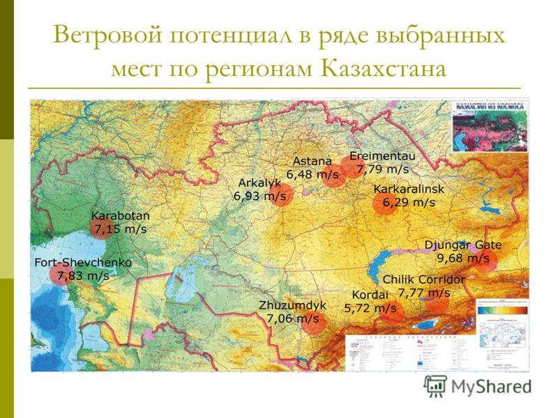Ветровой потенциал в ряде выбранных мест по регионам Казахстана