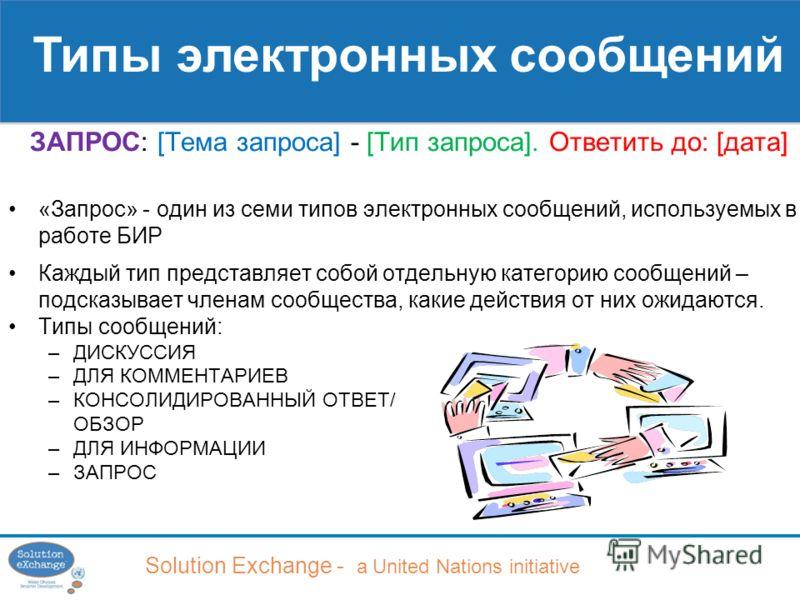 Solution Exchange - a United Nations initiative ЗАПРОС: [Тема запроса] - [Тип запроса]. Ответить до: [дата] «Запрос» - один из семи типов электронных сообщений, используемых в работе БИР Каждый тип представляет собой отдельную категорию сообщений – п