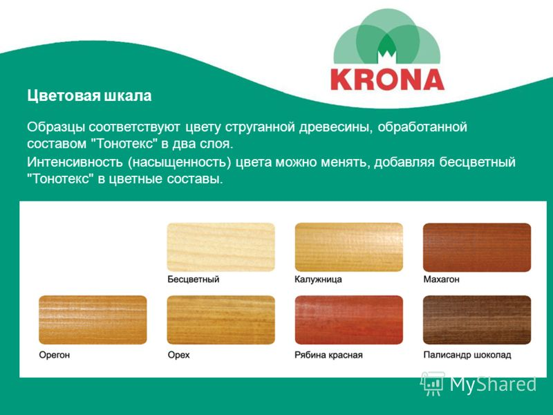 Цветовая шкала Интенсивность (насыщенность) цвета можно менять, добавляя бесцветный Тонотекс в цветные составы. Образцы соответствуют цвету струганной древесины, обработанной составом Тонотекс в два слоя.