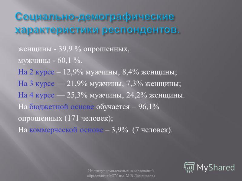 женщины - 39,9 % опрошенных, мужчины - 60,1 %. На 2 курсе – 12,9% мужчины, 8,4% женщины ; На 3 курсе 21,9% мужчины, 7,3% женщины ; На 4 курсе 25,3% мужчины, 24,2% женщины. На бюджетной основе обучается – 96,1% опрошенных (171 человек ); На коммерческ