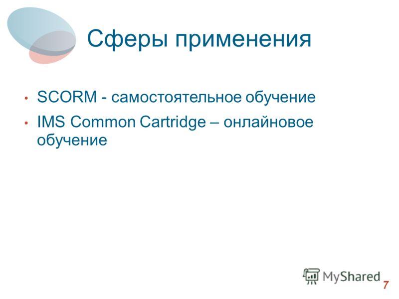 Сферы применения 7 SCORM - самостоятельное обучение IMS Common Cartridge – онлайновое обучение