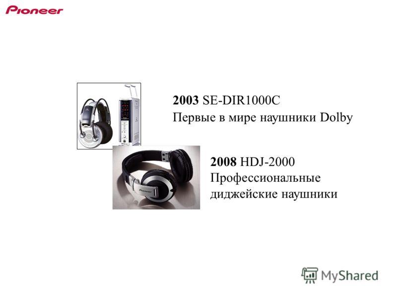 2003 SE-DIR1000C Первые в мире наушники Dolby 2008 HDJ-2000 Профессиональные диджейские наушники