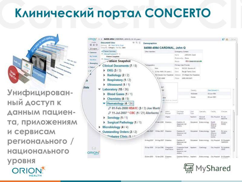 Concerto Cli Клинический портал CONCERTO Унифицирован- ный доступ к данным пациен- та, приложениям и сервисам регионального / национального уровня