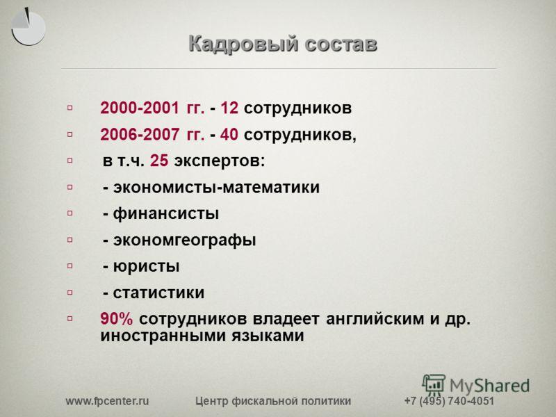 www.fpcenter.ru Центр фискальной политики +7 (495) 740-4051 Кадровый состав 2000-2001 гг. - 12 сотрудников 2006-2007 гг. - 40 сотрудников, в т.ч. 25 экспертов: - экономисты-математики - финансисты - экономгеографы - юристы - статистики 90% сотруднико