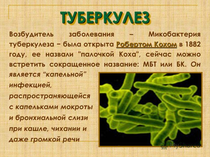 ТУБЕРКУЛЕЗТУБЕРКУЛЕЗ Робертом Кохом Робертом Кохом Возбудитель заболевания – Микобактерия туберкулеза была открыта Робертом Кохом в 1882 году, ее назвали