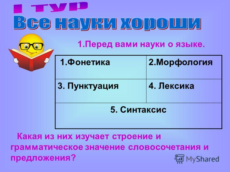 1.Фонетика2.Морфология 3. Пунктуация4. Лексика 5. Синтаксис 1.Перед вами науки о языке. Какая из них изучает строение и грамматическое значение словосочетания и предложения?