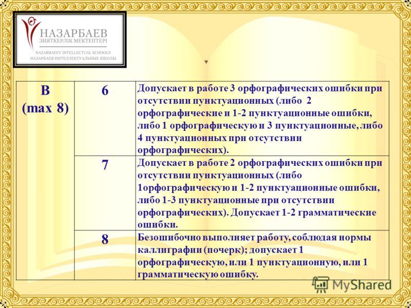 B (max 8) 6 Допускает в работе 3 орфографических ошибки при отсутствии пунктуационных (либо 2 орфографические и 1-2 пунктуационные ошибки, либо 1 орфографическую и 3 пунктуационные, либо 4 пунктуационных при отсутствии орфографических). 7 Допускает в