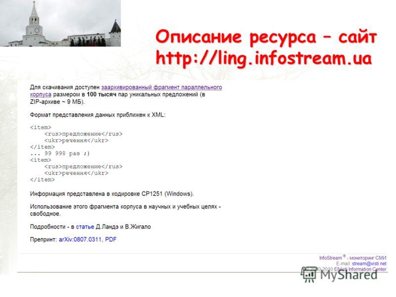 Описание ресурса – сайт http://ling.infostream.ua