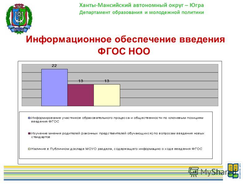 11 Информационное обеспечение введения ФГОС НОО Ханты-Мансийский автономный округ – Югра Департамент образования и молодежной политики