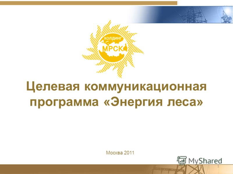 1 Целевая коммуникационная программа «Энергия леса» Москва 2011