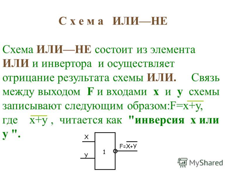 С х е м а ИЛИНЕ Схема ИЛИНЕ состоит из элемента ИЛИ и инвертора и осуществляет отрицание результата схемы ИЛИ. Связь между выходом F и входами x и y схемы записывают следующим образом:F=x+y, где x+y, читается как инверсия x или y . X F=X+Y 1 Y
