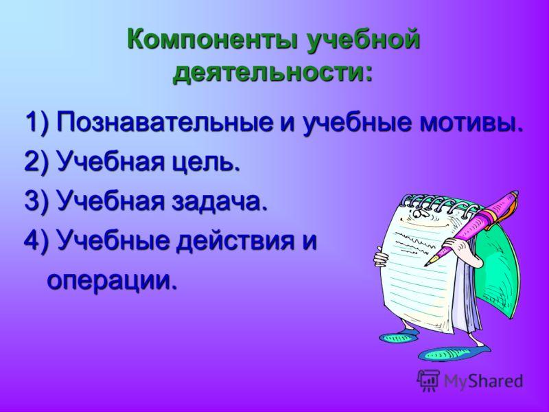 Компоненты учебной деятельности: 1) Познавательные и учебные мотивы. 2) Учебная цель. 3) Учебная задача. 4) Учебные действия и операции. операции.