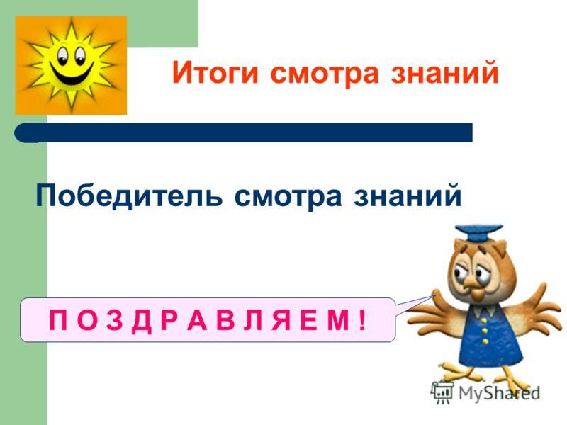 Итоги смотра знаний Победитель смотра знаний ………………………… П О З Д Р А В Л Я Е М !