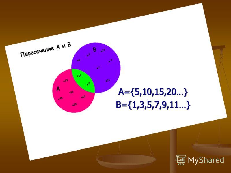 A={5,10,15,20…}B={1,3,5,7,9,11…}