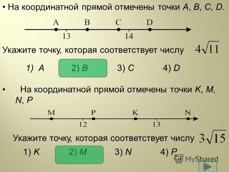 На координатной прямой отмечены точки A, B, C, D. Укажите точку, которая соответствует числу На координатной прямой отмечены точки K, M, N, P. Укажите точку, которая соответствует числу. 1) K2) M3) N4) P. 1)A2) B3) C4) D