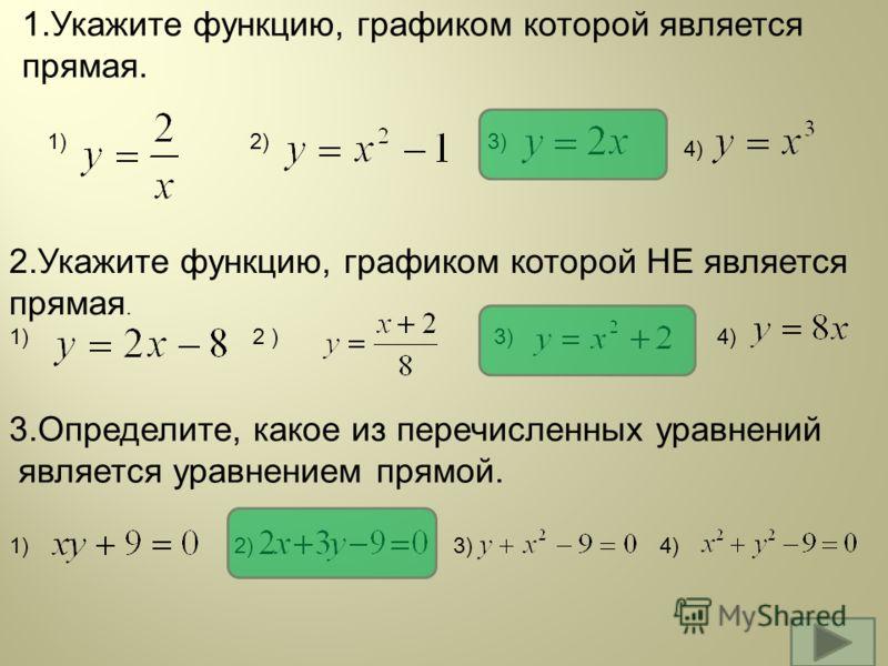 1.Укажите функцию, графиком которой является прямая. 1)2)3) 4) 2.Укажите функцию, графиком которой НЕ является прямая. 1) 2 ) 3) 4) 3.Определите, какое из перечисленных уравнений является уравнением прямой. 1) 2) 3) 4)