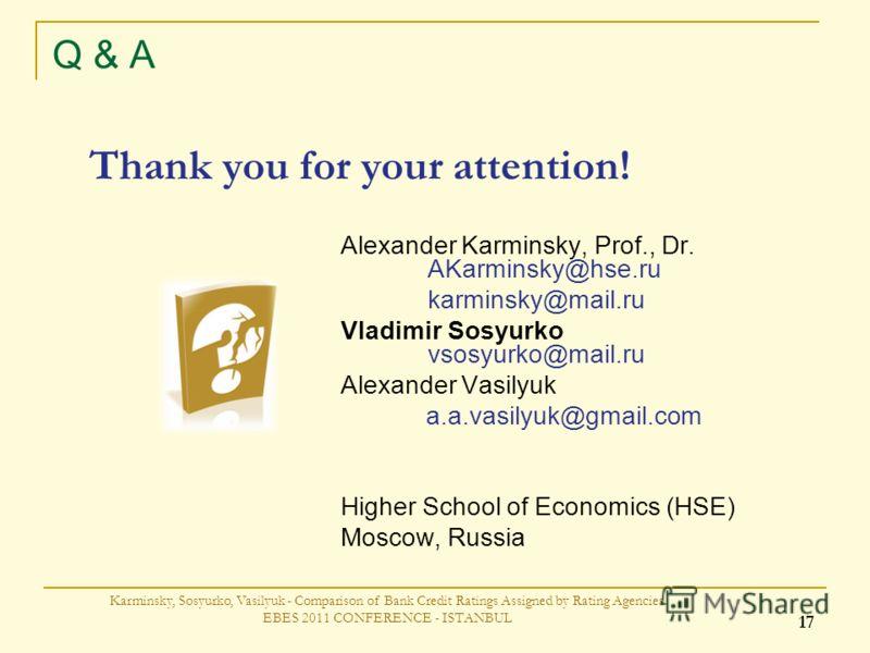 Q & A Alexander Karminsky, Prof., Dr. AKarminsky@hse.ru karminsky@mail.ru Vladimir Sosyurko vsosyurko@mail.ru Alexander Vasilyuk a.a.vasilyuk@gmail.com Higher School of Economics (HSE) Moscow, Russia Thank you for your attention! Karminsky, Sosyurko,