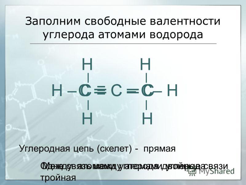 Заполним свободные валентности углерода атомами водорода С С С Н НН Н С С – С– НН – Углеродная цепь (скелет) - прямая Одна связь между атомами углерода тройная Между атомами углерода двойные связи