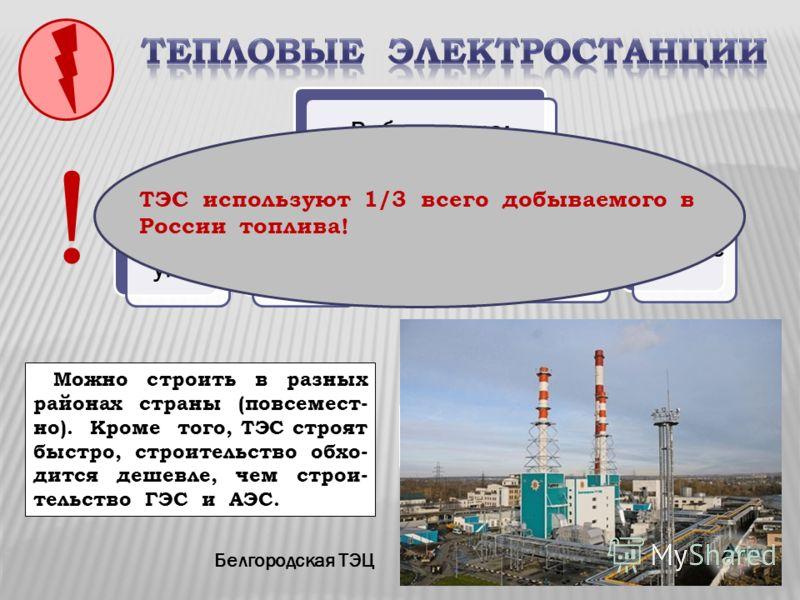 ТЭС конденсационныеТЭЦ Работают на: угленефти газе торфе мазуте Белгородская ТЭЦ Какие преимущества при строительстве имеют ТЭС? Можно строить в разных районах страны (повсемест- но). Кроме того, ТЭС строят быстро, строительство обхо- дится дешевле,