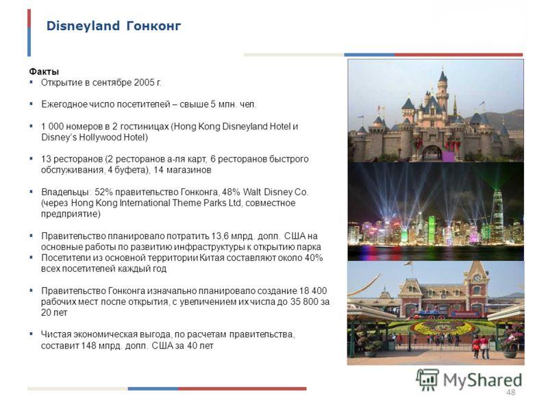 48 Disneyland Гонконг Факты Открытие в сентябре 2005 г. Ежегодное число посетителей – свыше 5 млн. чел. 1 000 номеров в 2 гостиницах (Hong Kong Disneyland Hotel и Disneys Hollywood Hotel) 13 ресторанов (2 ресторанов а-ля карт, 6 ресторанов быстрого о
