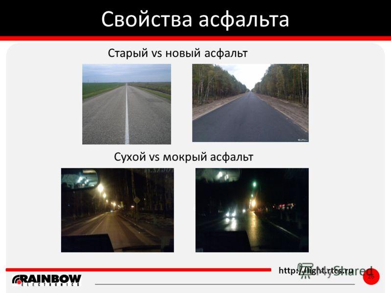 ё http://light.rtcs.ru 26 Старый vs новый асфальт Свойства асфальта Сухой vs мокрый асфальт