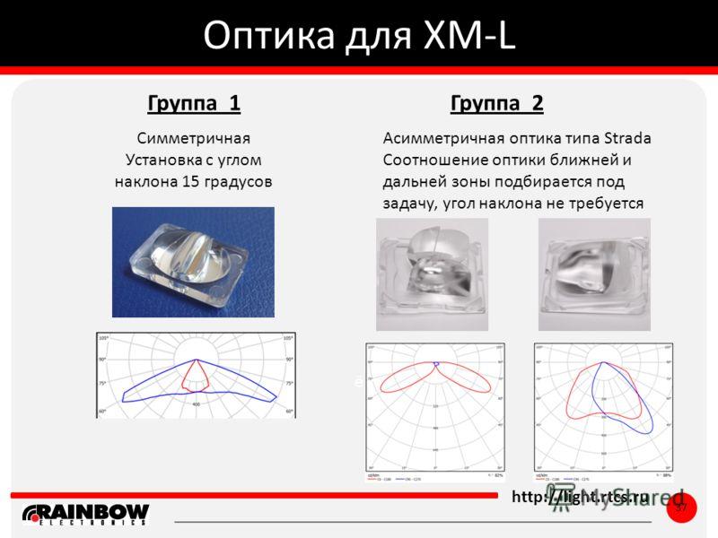 ё http://light.rtcs.ru 37 Оптика для XM-L Асимметричная оптика типа Strada Соотношение оптики ближней и дальней зоны подбирается под задачу, угол наклона не требуется Группа 1 Симметричная Установка с углом наклона 15 градусов Группа 2