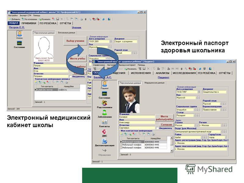 Электронный медицинский кабинет школы Электронный паспорт здоровья школьника