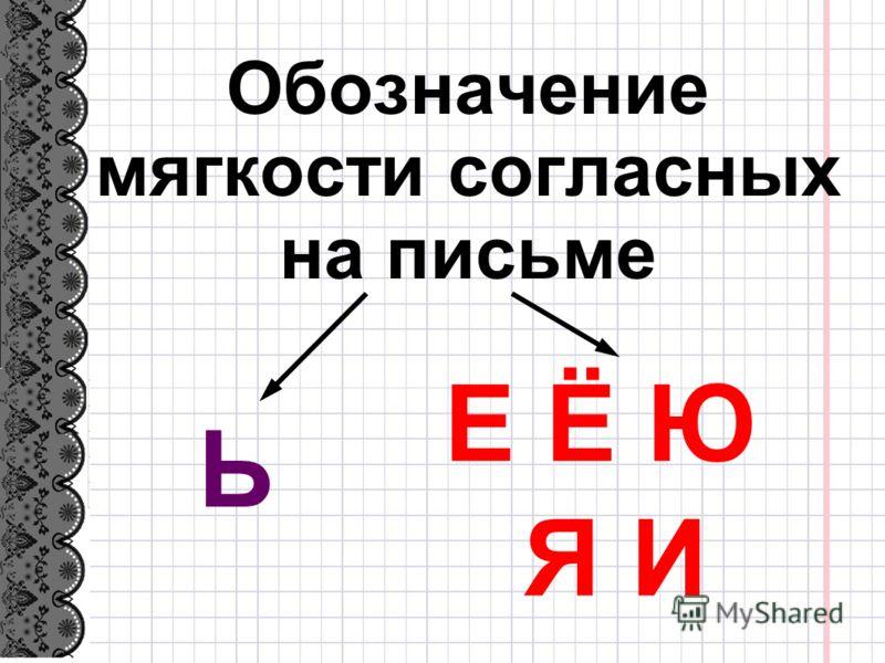 Обозначение мягкости согласных на письме Е Ё Ю Я И Ь