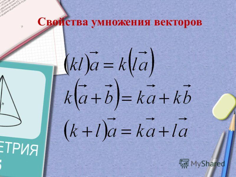 Произведением ненулевого вектора на а число k называется такой вектор b длина которого равна |k||a|, причем векторы a и b сонаправлены при k0 и противоположно направлены при k