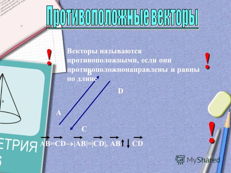 Векторы называются равными, если они сонаправлены и равны по длине А В С D AB=CD |AB|=|CD|, AB CD ! !