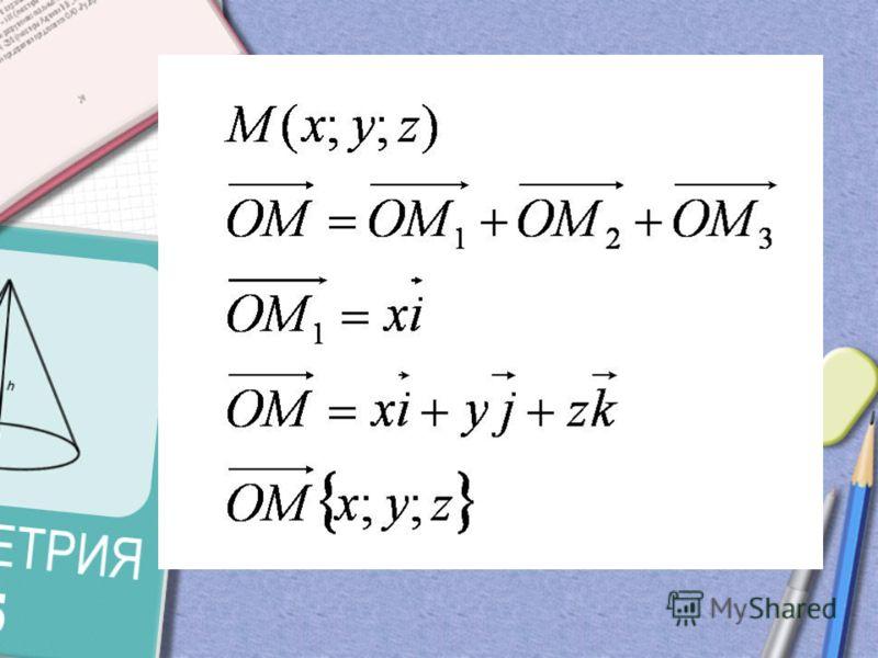 i J k M1 M2 M3 M М Связь между координатами векторов и координатами точек
