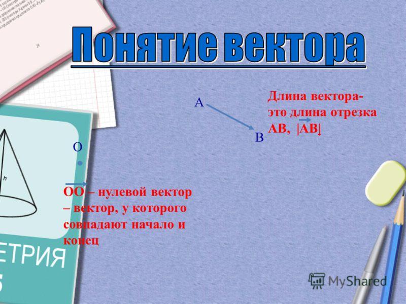 Отрезок, для которого указано, какой из его концов считается началом, а какой – концом, называется направленным отрезком или вектором. B C Или направленный отрезок называется вектором. ! ! ВС В – начало С - конец а