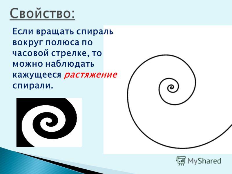 Если вращать спираль вокруг полюса по часовой стрелке, то можно наблюдать кажущееся растяжение спирали.