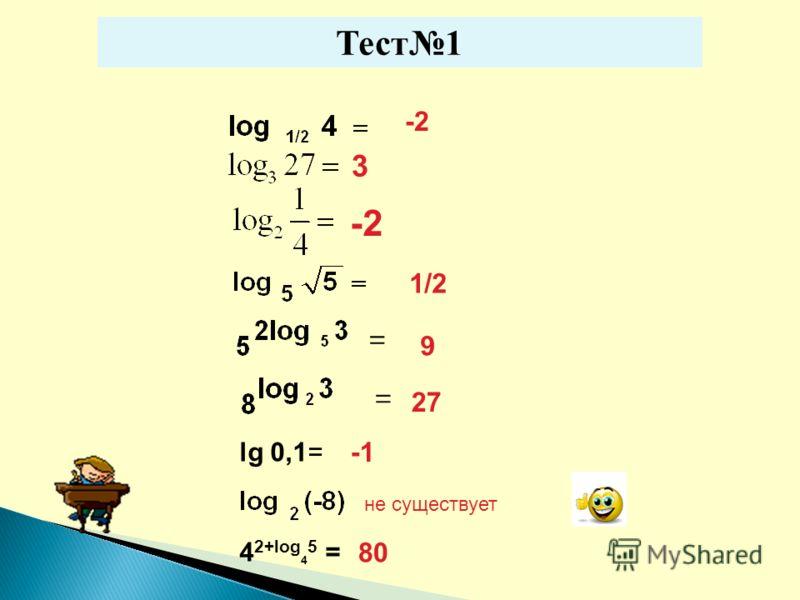 Тест1 -2 = 1/2 9 27 = lg 0,1= не существует 4 2+log 4 5 = 80 3 -2
