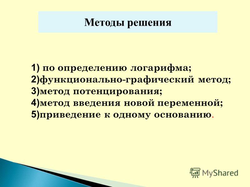 1) по определению логарифма; 2) функционально-графический метод; 3) метод потенцирования; 4) метод введения новой переменной; 5) приведение к одному основанию. Методы решения
