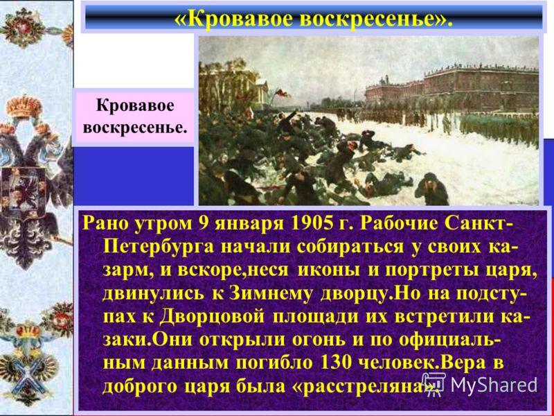 «Кровавое воскресенье». Кровавое воскресенье. Рано утром 9 января 1905 г. Рабочие Санкт- Петербурга начали собираться у своих ка- зарм, и вскоре,неся иконы и портреты царя, двинулись к Зимнему дворцу.Но на подсту- пах к Дворцовой площади их встретили