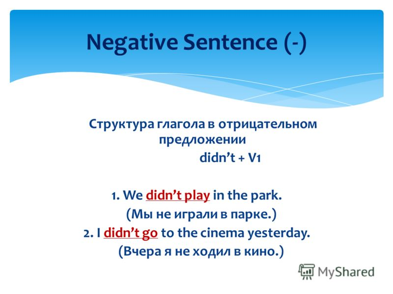 Cтруктура глагола в отрицательном предлoжении didnt + V1 1. We didnt play in the park. (Мы не играли в парке.) 2. I didnt go to the cinema yesterday. (Вчера я не ходил в кино.) Negative Sentence (-)