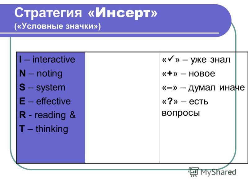 27 Стратегия « Инсерт » («Условные значки») I – interactive N – noting S – system E – effective R - reading & T – thinking самоактивизир ующая (диалоговая) системная разметка для эффективного чтения и размышления « » – уже знал «+» – новое «–» – дума