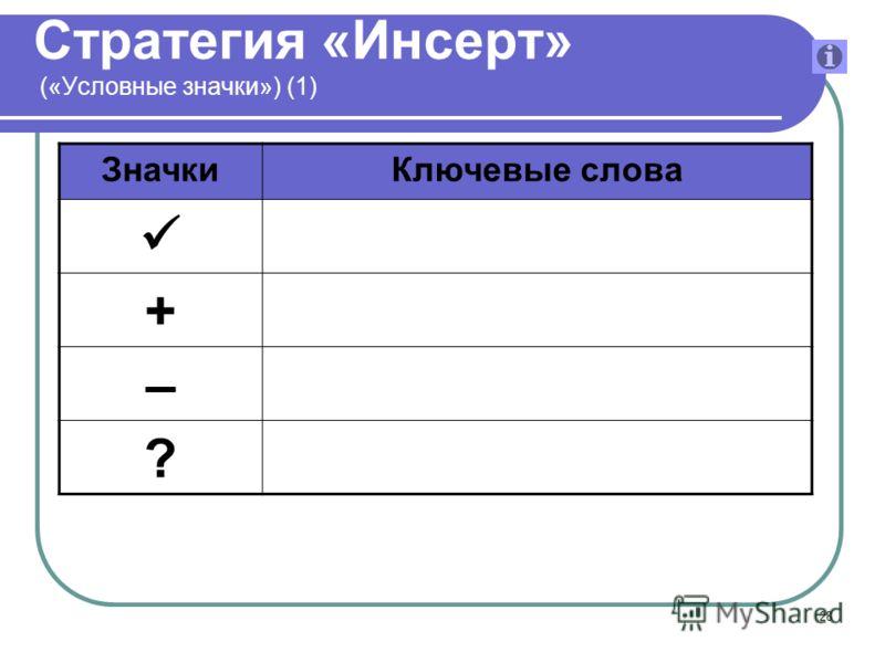 28 Стратегия «Инсерт» («Условные значки») (1) ЗначкиКлючевые слова + – ?