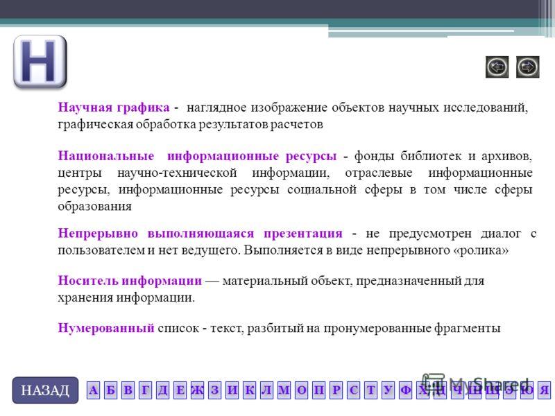 НАЗАД Нумерованный список - текст, разбитый на пронумерованные фрагменты Носитель информации материальный объект, предназначенный для хранения информации. Научная графика - наглядное изображение объектов научных исследований, графическая обработка ре