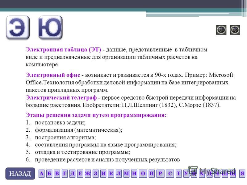 НАЗАД Этапы решения задачи путем программирования: 1.постановка задачи; 2.формализация (математическая); 3.построения алгоритма; 4.составления программы на языке программирования; 5.отладка и тестирование программы; 6.проведение расчетов и анализ пол