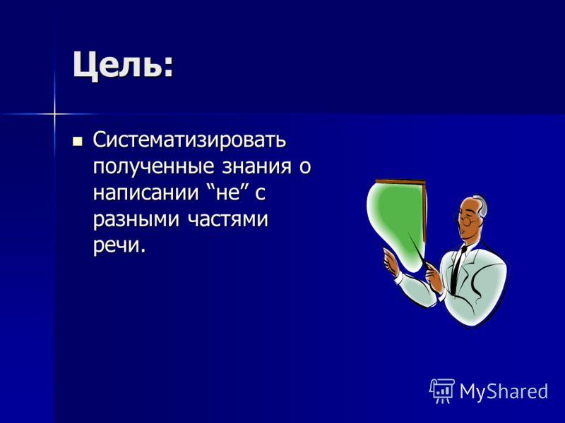 Цель: Систематизировать полученные знания о написании не с разными частями речи.