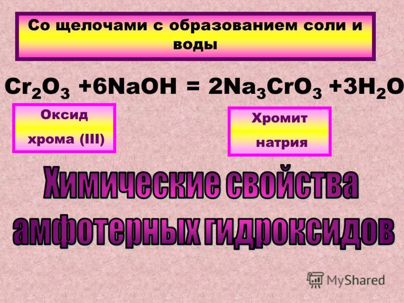 Со щелочами с образованием соли и воды Cr 2 O 3 +6NaOH = 2Na 3 CrO 3 +3H 2 O Оксид хрома (III) Хромит натрия