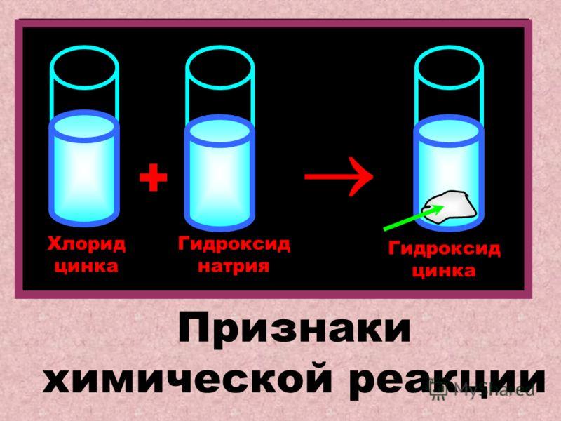 Хлорид цинка Гидроксид натрия Гидроксид цинка + Признаки химической реакции