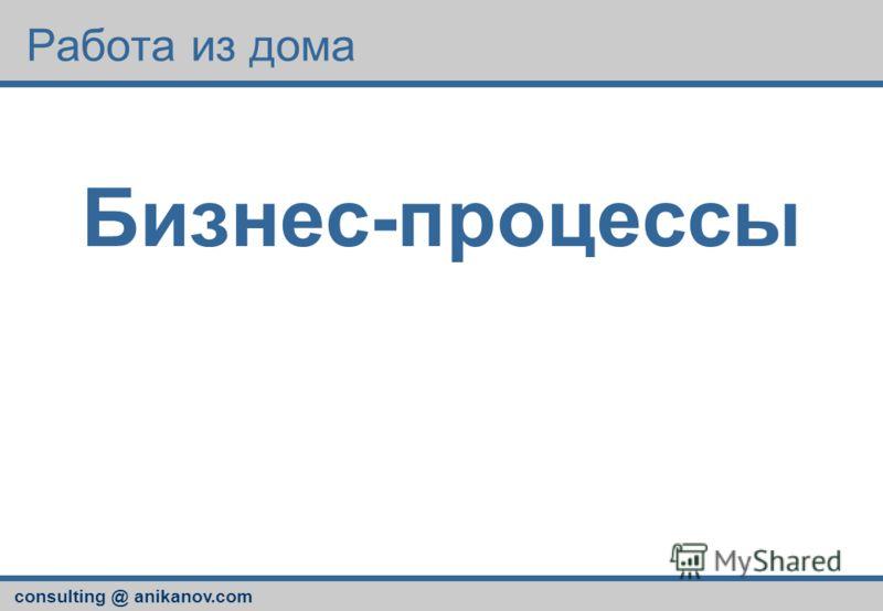 consulting @ anikanov.com Работа из дома Бизнес-процессы