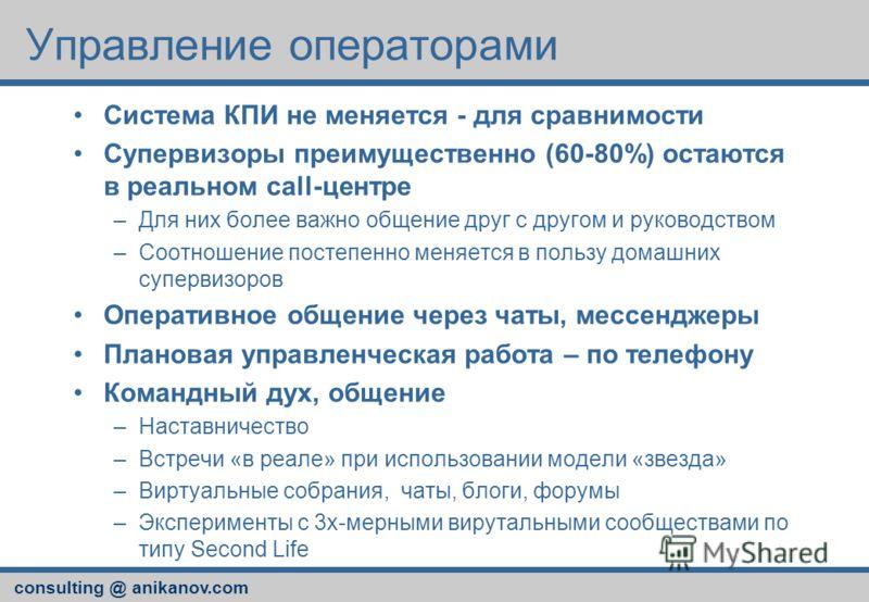 consulting @ anikanov.com Управление операторами Система КПИ не меняется - для сравнимости Супервизоры преимущественно (60-80%) остаются в реальном call-центре –Для них более важно общение друг с другом и руководством –Соотношение постепенно меняется