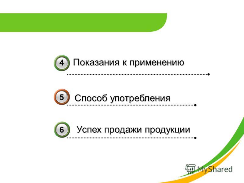 Показания к применению Показания к применению Способ употребления 4 5 36 Успех продажи продукции