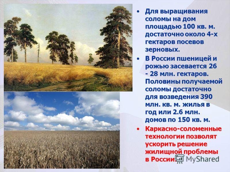Для выращивания соломы на дом площадью 100 кв. м. достаточно около 4-х гектаров посевов зерновых.Для выращивания соломы на дом площадью 100 кв. м. достаточно около 4-х гектаров посевов зерновых. В России пшеницей и рожью засевается 26 - 28 млн. гекта