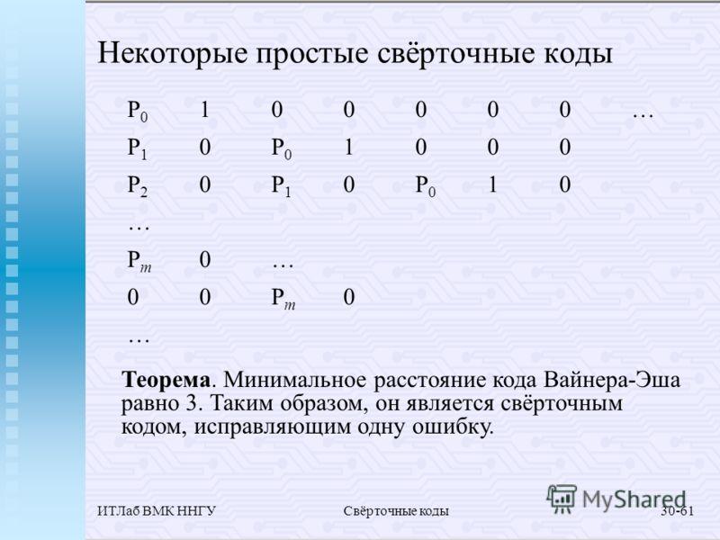ИТЛаб ВМК ННГУСвёрточные коды30-61 Некоторые простые свёрточные коды Теорема. Минимальное расстояние кода Вайнера-Эша равно 3. Таким образом, он является свёрточным кодом, исправляющим одну ошибку. P0100000…P10P01000P20P10P010…Pm0…00Pm0…P0100000…P10P