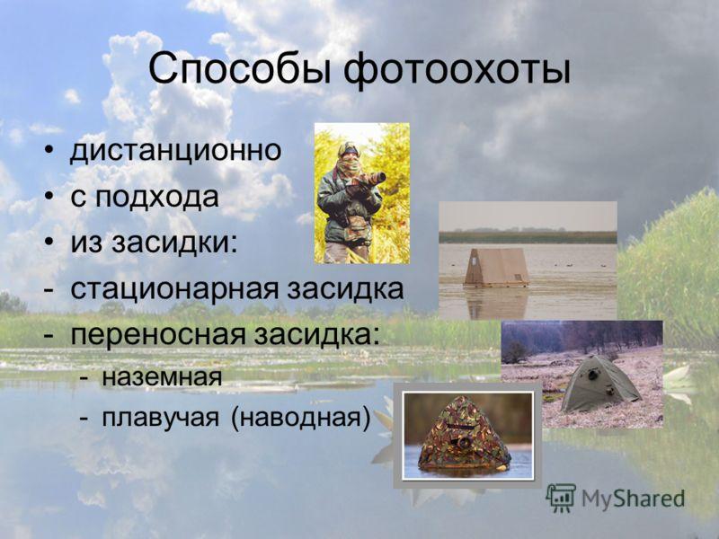 Способы фотоохоты дистанционно с подхода из засидки: -стационарная засидка -переносная засидка: -наземная -плавучая (наводная)
